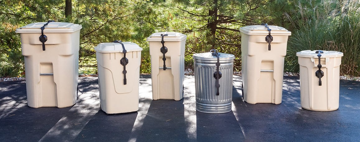 Shows the universal Strong Strap garbage can lock on six different cans