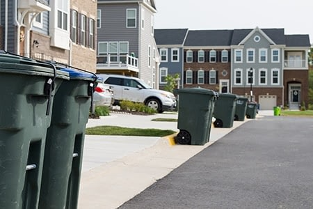 trash and recycling cans with strong straps line the street in a townhome complex